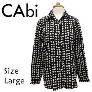 CAbi Black White Dot Silk Blouse Size Large